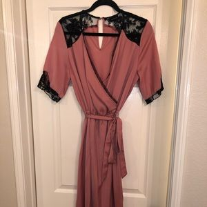 Who What Wear Pink Lace Dress